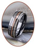 JB Memorials Exclusive Natureline Ceramic Zirkonium / Wood Duo As Ring - WR015_