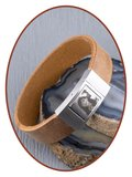 JB Memorials Edelstalen RVS Lederen Foto Gedenk (As) Armband - ZAS005F_