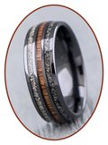 JB Memorials Exclusive Natureline Ceramic Zirkonium / Wood Duo As Ring - WR015