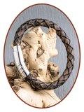 JB Memorials Edelstalen RVS / Leren Heren As Armband met vulschroef - ZMA234S_