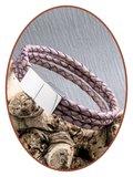 JB Memorials Edelstalen RVS / Leren (As) Armband met vulschroef - VAS002_
