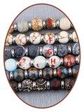 JB Memorials Edelstalen RVS / Leren (As) Kralen Armband met vulschroef - ZAS014A_