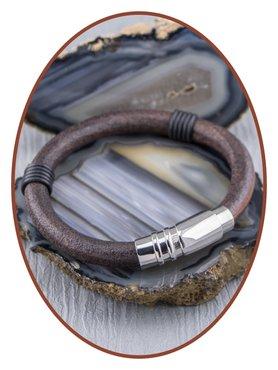 JB Memorials Edelstalen RVS / Vintage Leren Heren As Armband met vulschroef - ZMA234V
