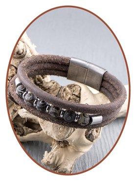 JB Memorials Edelstalen RVS / Vintage Leren As (Kralen) Armband met vulschroef - ZMA239
