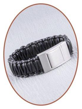 JB Memorials Edelstalen RVS Lederen Gedenk (As) Armband - ZAS050