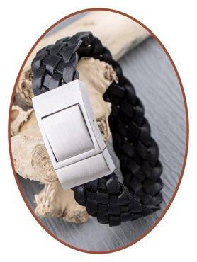 JB Memorials Edelstalen RVS Lederen Gedenk (As) Armband - ZAS055