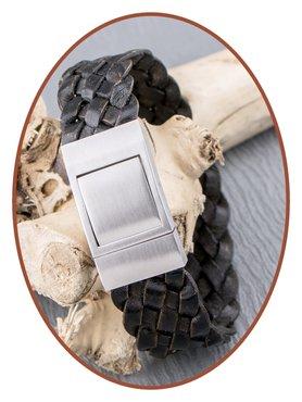 JB Memorials Edelstalen RVS Lederen Gedenk (As) Armband - ZAS056