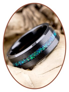 JB Memorials Ceramic Zirconium Opaal Heren As Ring - RB048BO