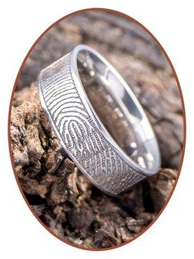 JB Memorials Edelstalen Gepolijste Vingerafdruk Gedenk Ring 8mm - TR012