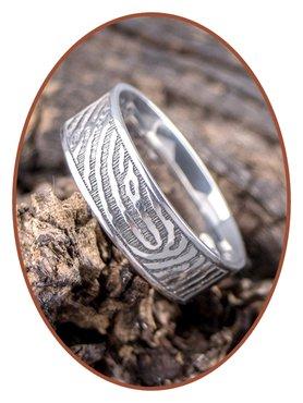 JB Memorials Edelstalen Gepolijste Vingerafdruk Gedenk Ring 8mm - TR012W