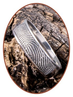 JB Memorials Titanium Vingerafdruk Gedenk Ring - TIR001