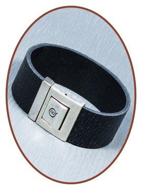 QúeB Memorials  Lederen 'Craquelé' Gedenk Armband - ZA016G