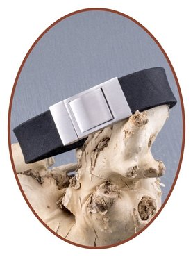 JB Memorials Edelstalen RVS Lederen Gedenk (As) Armband - ZAS001