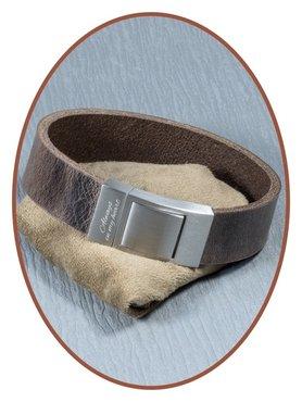 JB Memorials Edelstalen RVS Lederen Gedenk (As) Armband - ZAS004