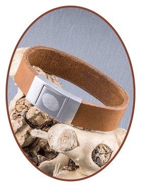 JB Memorials Edelstalen RVS Lederen Gedenk (As) Armband - ZAS005