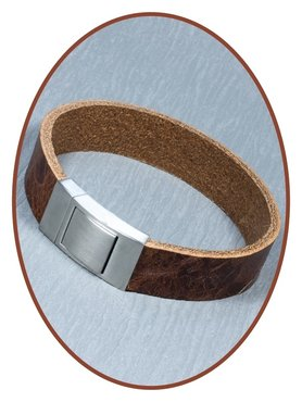 JB Memorials Edelstalen RVS Lederen Gedenk (As) Armband - ZAS006