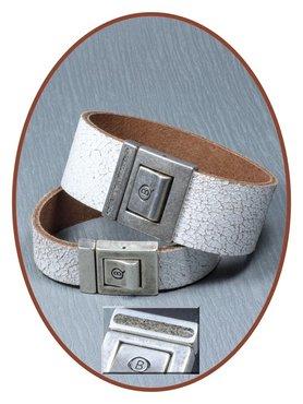 QúeB Memorials Craquelé Wit Lederen Special As Armband - ZA013S