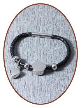 Lederen Dames As Armband  Met Graveer Charm - ZMA235
