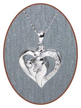 925 Sterling Zilveren Zirconia 'Moeder & Kind' Ashanger - Z015