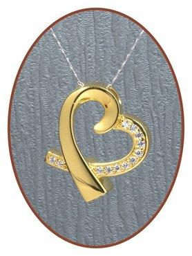 925 Sterling Zilveren 'in my heart' Gold Ashanger - Z017G
