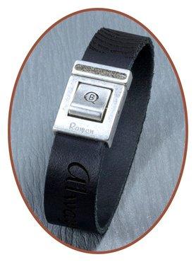 QúeB Memorials  Lederen (Vingerafdruk / Tekst) Heren As Armband - ZA001