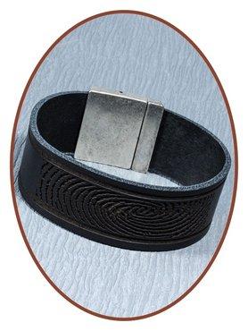 QúeB Memorials  Lederen Heren (Vingerafdruk / Tekst) As Armband - ZA002