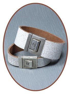 QúeB Memorials  Lederen Gedenk Armband - ZA013G