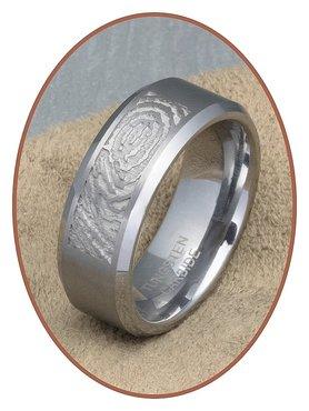 Tungsten Carbide Matte Vingerafdruk Graveer Ring - TUR001