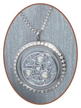 316L Edelstalen JB Memorials Glas 'Hearts' Medaillon Ashanger - RSP086B