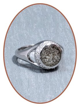 JB Memorials Zilver / Rhodium Zirconia Dames As / Haarlok Ring - RB052