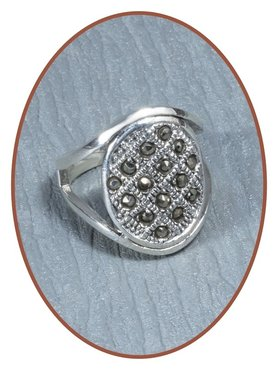 Sterling Zilveren Marcasite Dames As Ring - RB053