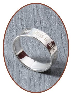 JB Memorials Sterling Zilveren Tekst Gedenk Ring 5mm - RB066