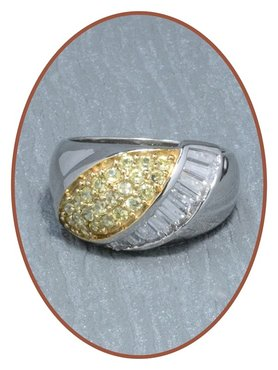 Sterling Zilveren 14 K Goud Zirkonia Dames As Ring - RB023