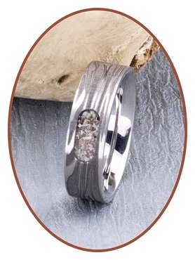JB Memorials Edelstalen As Ring met Damascus Patroon - RB044DAM