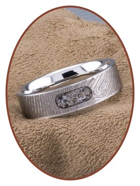 JB Memorials Edelstalen Dames / Heren As Vingerafdruk Ring - RB044V