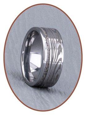 JB Memorials Tungsten Carbide As Ring met Damascus Patroon - RB046DAM