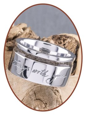 JB Memorials Cobalt Chrome Brede Dames Handschrift As Ring - RB046DH