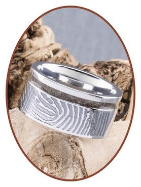 JB Memorials Cobalt Chrome Brede Dames Vingerafdruk As Ring - RB046DV
