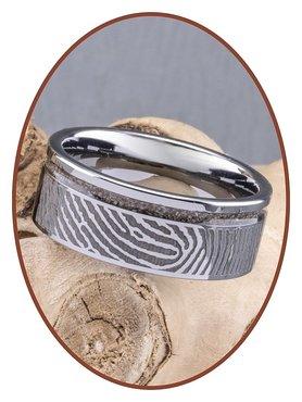 JB Memorials Tungsten Carbide Brede Vingerafdruk Heren As Ring - RB046HV
