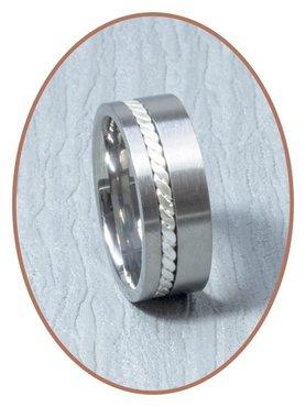 JB Memorials Titanium/Zilver Tekst Gedenk Ring - JB127