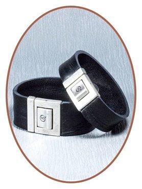 QúeB Memorials  Lederen Gedenk Armband - ZA007G