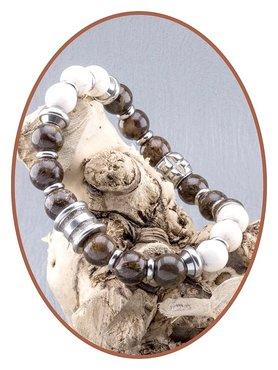 JB Memorials RVS Bronzite White Turquoise As Armband - KHA010