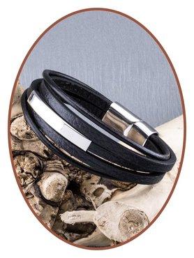 JB Memorials Edelstalen RVS Lederen Gedenk (As) Armband - ASB014