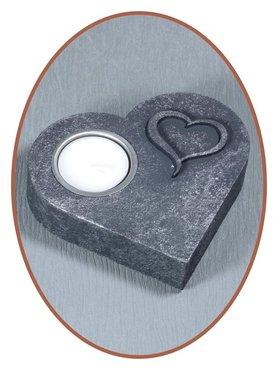 Mini As Urn 'Hart' Antique Silver met Theelichthouder  - HM302H-OLD-S