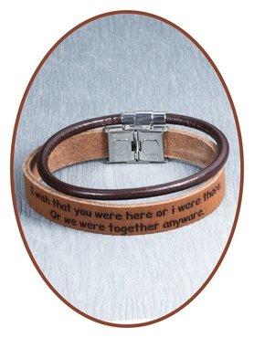 JB Memorials Edelstalen RVS Lederen Tekst Gedenk Armband Set - GEL003