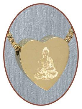 Edelstalen/RVS 'Buddha' Hart Ashanger Goudkleur - G304H