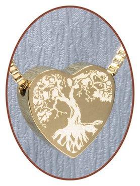 Edelstalen/RVS 'Levensboom' Hart Ashanger Goudkleur - G304Q