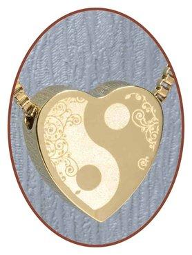 Edelstalen/RVS 'Yin-Yang' Hart Ashanger Goudkleur - G304R