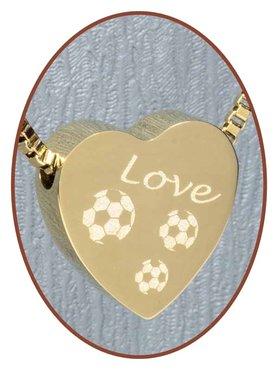 Edelstalen/RVS 'Love-Voetbal' Hart Ashanger Goudkleur - G304S