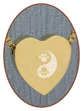 Edelstalen/RVS 'Yin-Yang/Poot' Hart Ashanger Goudkleur - G304X1